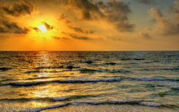 Sunset over the Mediterranean Sea off the coast of Tel Aviv Stock Photography