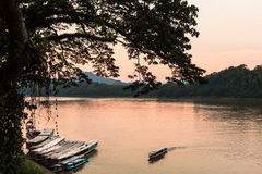 Sunset over the Mekong river Royalty Free Stock Photos