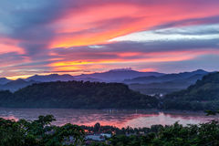 Sunset over Mekong River, Mount Phousi, Luang Prabang,  Laos Royalty Free Stock Photos