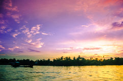 Sunset over Mekong vy Can Tho in Vietnam Stock Images