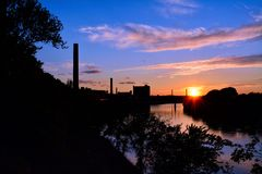 Sunset over the Merrimack River Stock Photos