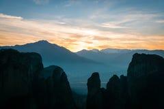Sunset over Meteora mountains, Greece stock photo