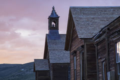 Sunset over Methodist Church steeple, Bodie, California Stock Photography