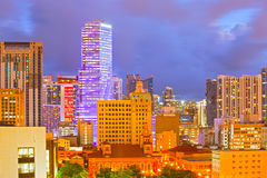 SUnset over Miami Florida skyline with illuminated modern buildings. Of downtown financial district and brickell Royalty Free Stock Photo