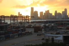 Sunset over Miami port royalty free stock photography