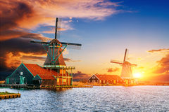 Sunset over the mill.  Rotterdam. Holland. Stock Images
