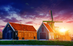 Sunset over the mill. Rotterdam. Holland Royalty Free Stock Photo