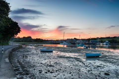 Sunset over Millbrook in Cornwall Stock Photography