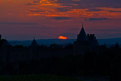Sunset over the Minervois, Aude, Languedoc, France Royalty Free Stock Images