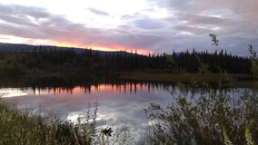Sunset over Minto Lake, Yukon Territory, Canada Royalty Free Stock Photos