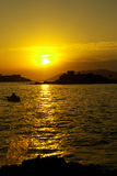 Sunset over Miriste harbor royalty free stock images