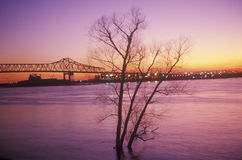 Sunset Over the Mississippi, New Orleans, Louisiana royalty free stock photography
