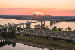 Sunset over the Mississippi River Royalty Free Stock Photography
