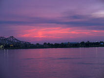 Sunset over the Mississippi River at Natchez under the Hill in Royalty Free Stock Images