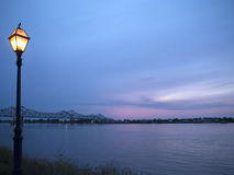 Sunset over the Mississippi River at Natchez under the Hill Stock Photo