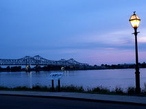 Sunset over the Mississippi River at Natchez under the Hill Stock Image
