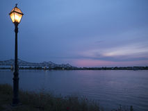 Sunset over the Mississippi River at Natchez under the Hill Stock Photos