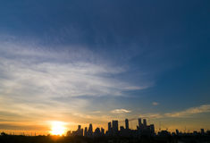 Sunset Over Modern City Royalty Free Stock Photography
