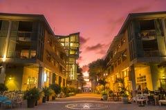 Camana Bay-The Paseo, Sunset royalty free stock photo