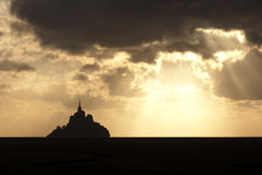 Sunset over Mont Saint Michel Royalty Free Stock Photo