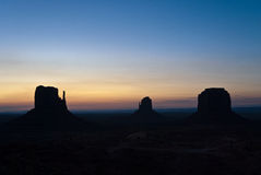 Sunset over Monument Valley. Sunset over butte rock formations in Monument Valley, Utah, U.S.A Stock Photography