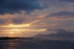 Sunset over Moorea Royalty Free Stock Photography
