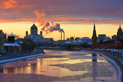 Sunset over Moscow. River, Moscow Royalty Free Stock Images