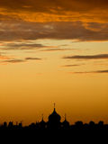 Sunset over Moscow. Sunset in Moscow, Russia, with church shadowgraph Royalty Free Stock Photo