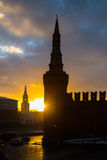 Sunset over Moscow Kremlin at winter Stock Photography