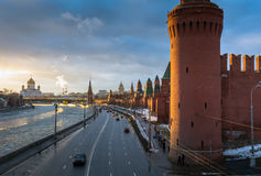 Sunset over Moscow river and Kremlin embankment at winter Royalty Free Stock Photography