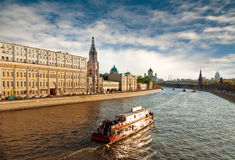 Sunset over Moscow river, Moscow Royalty Free Stock Photography