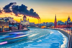Winter in Moscow city. Sunset over Moscow river, Moscow Royalty Free Stock Photography