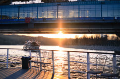 Sunset over Moscow river Stock Images