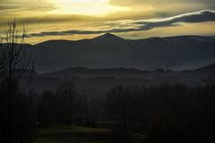 Sunset over Mount Snow in Karkonosze, Poland Royalty Free Stock Images
