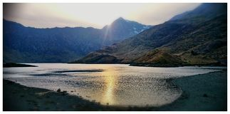 Sunset over mount snowdon Stock Image