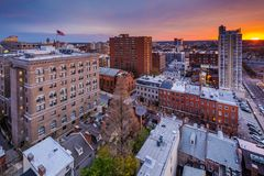 Sunset over Mount Vernon, in Baltimore, Maryland.  stock photo
