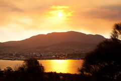 Sunset over Mount Wellington Stock Photos