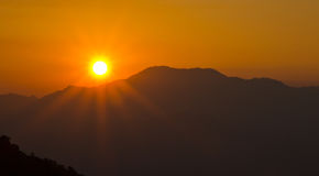 Sunset over the mountain. Landscape nature Royalty Free Stock Images