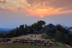 Sunset over mountain camping Royalty Free Stock Images