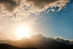 Sunset over the mountain and clouds Tahtalı Turkey Royalty Free Stock Photography