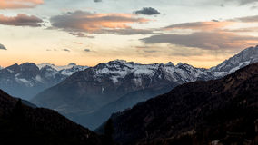 Sunset over mountain. Dolomites landscape at dusk. Twilight. Sunset over mountain. Dolomiti landscape at dusk Stock Photos