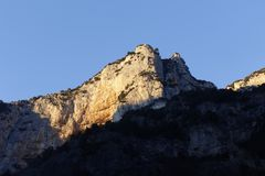 Sunset over the mountain in Frasassi,Italy stock images