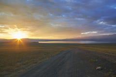 Sunset over mountain lake Uureg nuur Royalty Free Stock Images