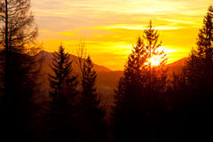 Sunset over mountain landscape horizon. In Zakopane Stock Photography