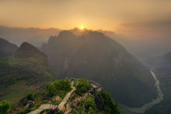Sunset over mountain path