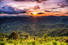 Sunset over mountain. Royalty Free Stock Images