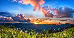 Sunset over mountain. Royalty Free Stock Photo