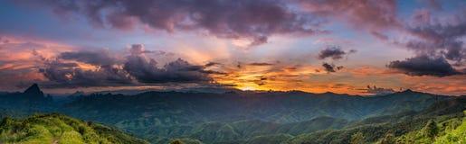 Sunset over mountain. Royalty Free Stock Photos