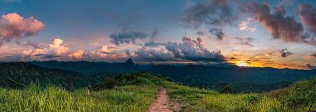 Sunset over mountain. Stock Photo