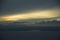 Sunset over Mountain Range Royalty Free Stock Photos